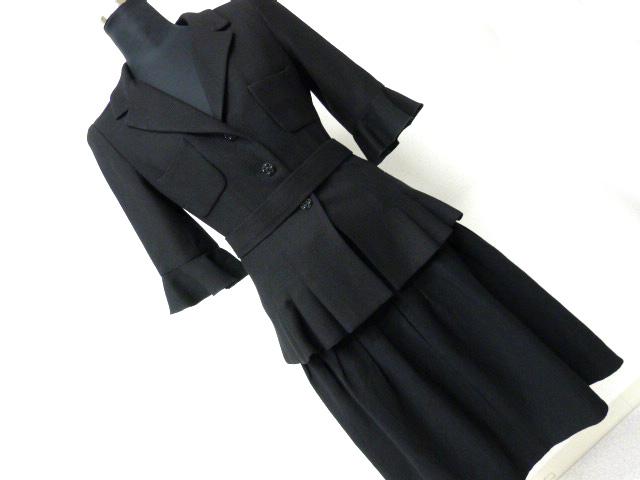 c2cd86f39d6f 中古】7507シャネル本物極美品34&38美ラインジャケット&スカートスーツ黒 ...