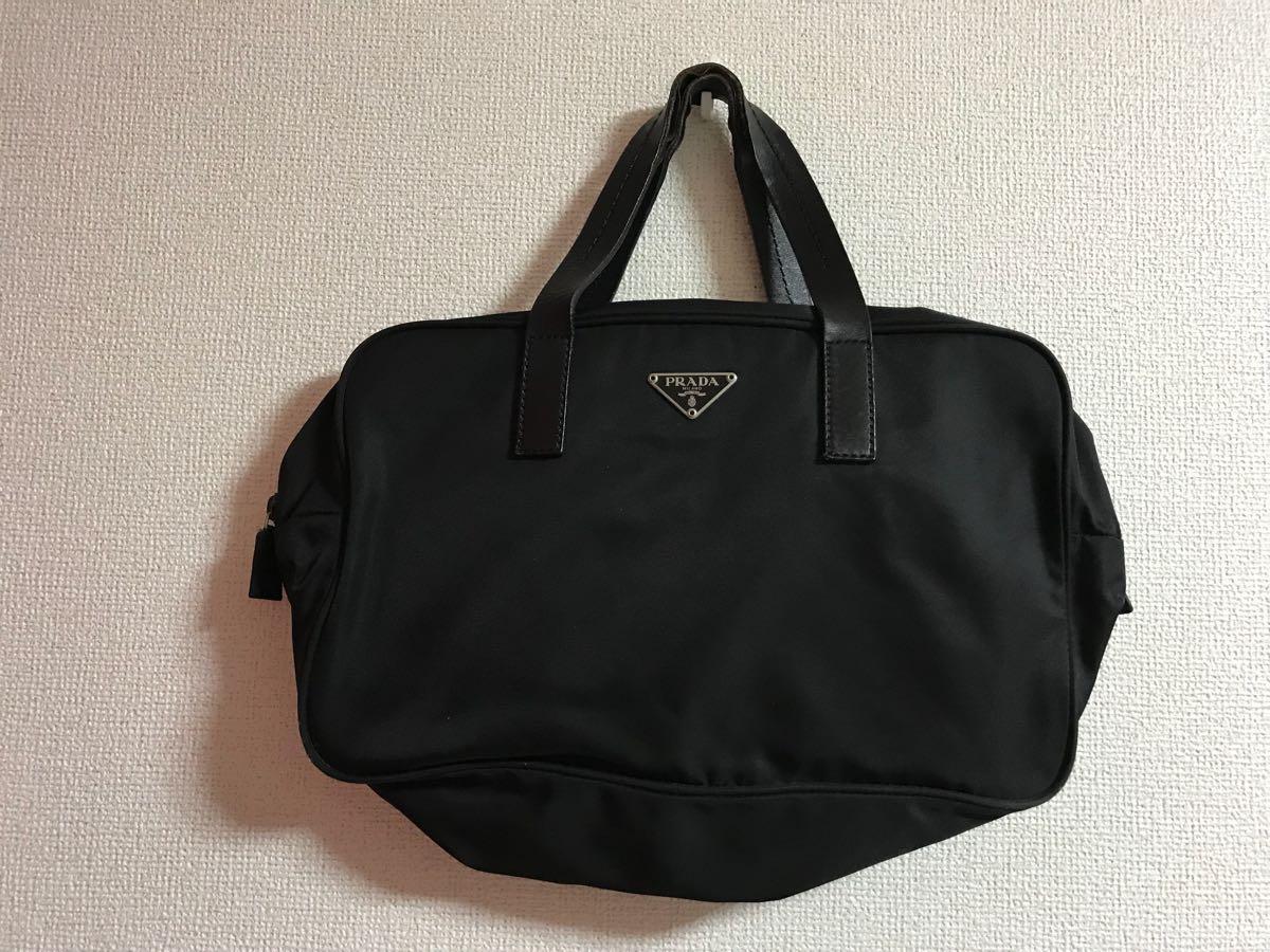 020ce3829b12 伊勢丹新宿店購入 確実正規品 美品 PRADA プラダ ナイロン×牛革 レザー ハンドバッグ