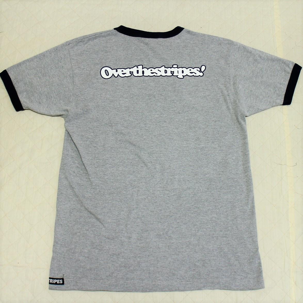 送料無料☆オーバーザストライプス メンズTシャツ GREMMiE☆グレー紺 Lサイズの