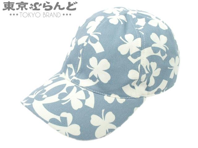 e778369b3b5d 101315949 1円~ シャネル CHANEL キャップ 帽子 Mサイズ クローバー ココマーク ライトブルー×