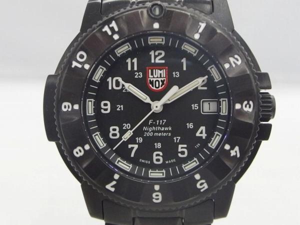 2eab94c0ee 【1円スタート】 ルミノックス LUMINOX クォーツ腕時計 ナイトホーク オールブラック ブラック F-