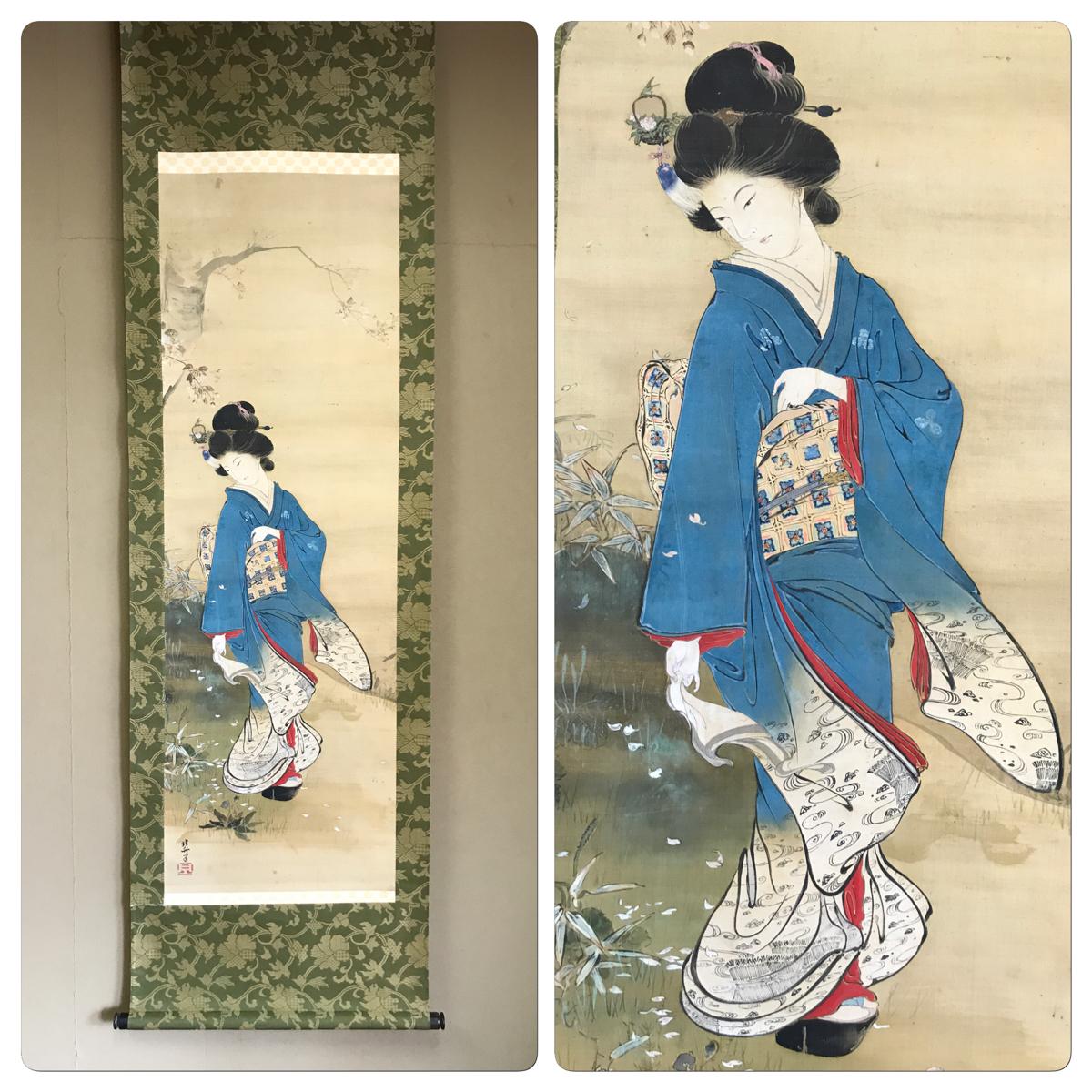 中古 仏陀 葛飾北斎 桜舞美人 絹本 肉筆保証 浮世絵 美人画 掛軸