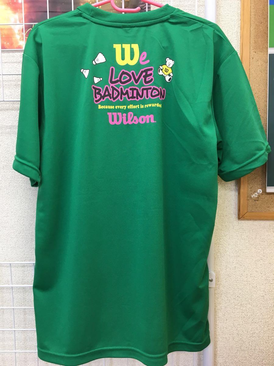 59605195b34de ... 【限定】Wilson(ウィルソン) LOVE BADMINTON Tシャツ グリーン サイズL 新品タグ ...