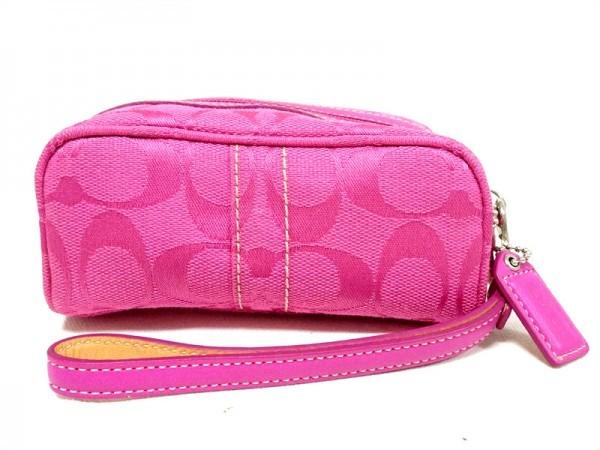 144801987dc4 コーチ コスメポーチ ピンク キャンバス ピンク シルバー金具 シグネチャー柄 アイコスケース