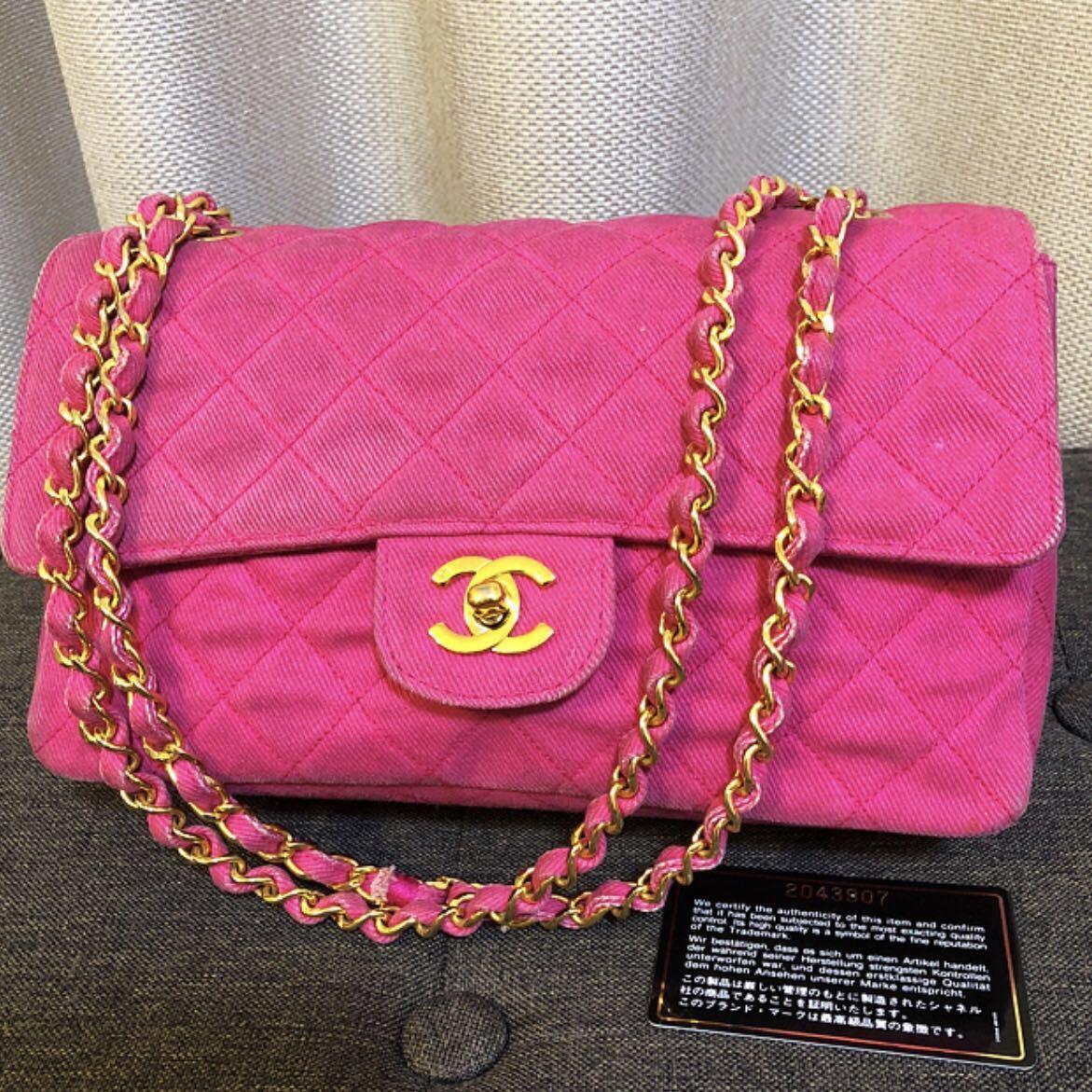 778992c63a80 シャネル ビンテージ ピンク デニム マトラッセ ショルダー バッグの1番目の画像