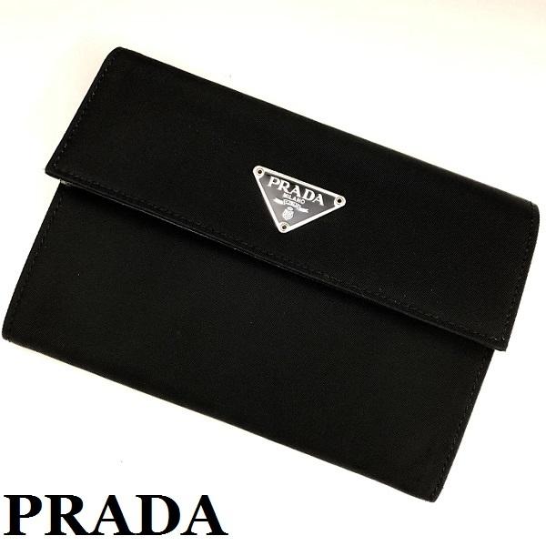 bffbd558033e PRADA プラダ TESSUTO 三つ折り 財布 超美品 テスート ナイロン×レザー 三角プレート 黒