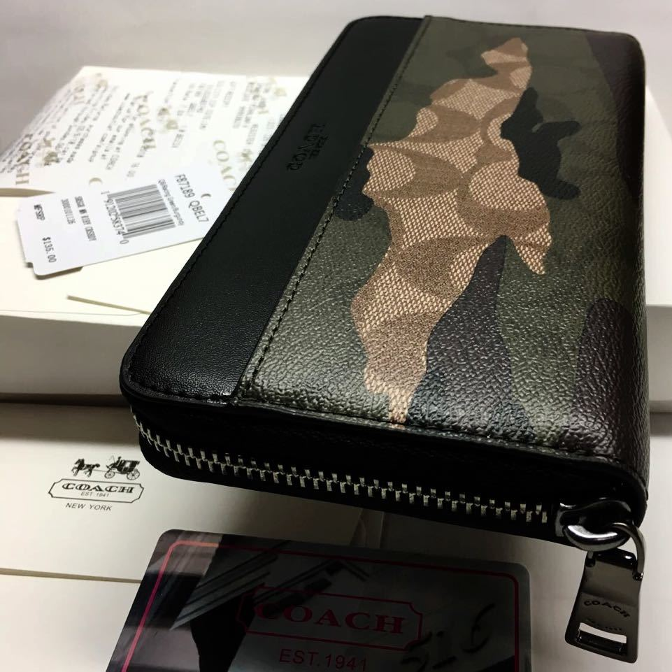 2a1e34bd6a25 1円スタートコーチ 箱ショップバッグ付き COACH 新品 人気の迷彩柄 ラウンドジップ