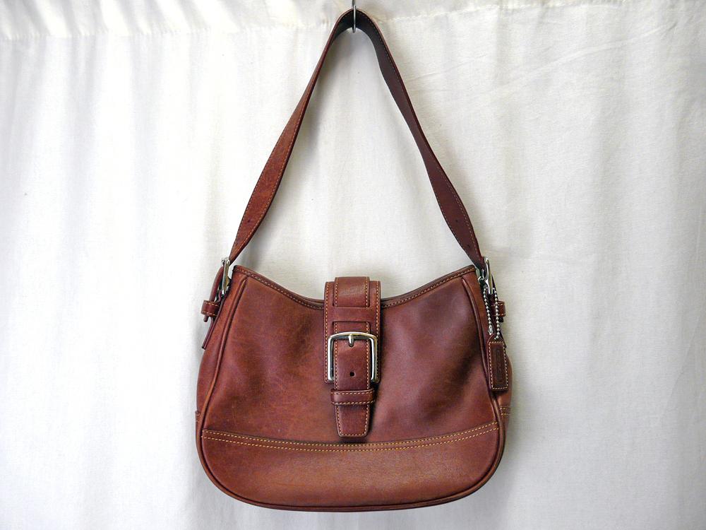 7fbbe595b776 COACH レザーバッグ コーチ ヴィンテージバッグ ハンドバッグ 肩掛けBAG 本革 鞄 赤茶 レッド/