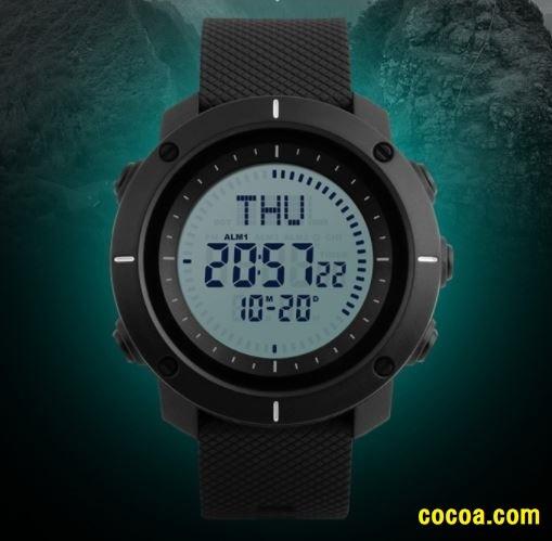 02d03d1b09 新品 コンパス機能 デジタル 腕時計 LED ストップウォッチ アウトドア 登山 アラーム 大文字盤 防水 釣り バック
