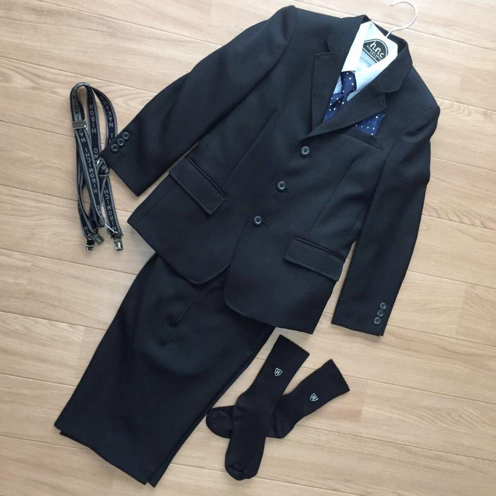 f281fb4e789be ヒロミチナカノ 男の子 130 フォーマル セットアップ ストライプ 黒 スーツ 6点セット ジャケット パンツ 入学 卒