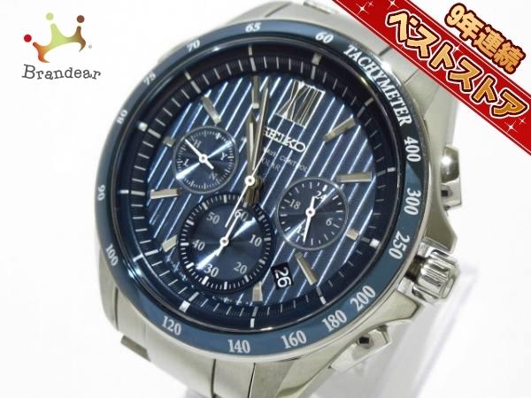dd74e30729 SEIKO(セイコー) 腕時計□美品 ブライツ 8B82-0AL0 メンズ クロノグラフ ネイビー