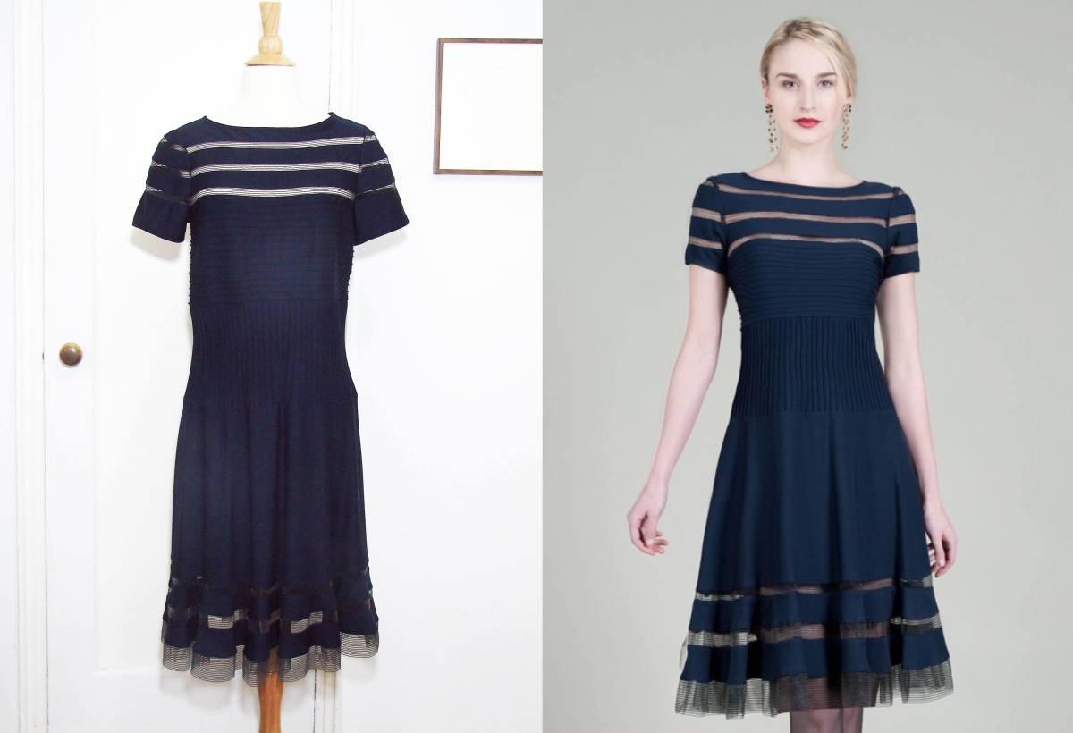 6759008e13744 TADASHI SHOJI タダシショージ メッシュ ストライプ ドレス   ワンピース ネイビー(サイズ M)の1