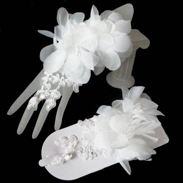 df8a2546fb835c 送料無料 ウェディング ショート グローブ レース フラワー リボン ブライダル ハンド 花嫁 結婚式 パーティー 手袋 即決