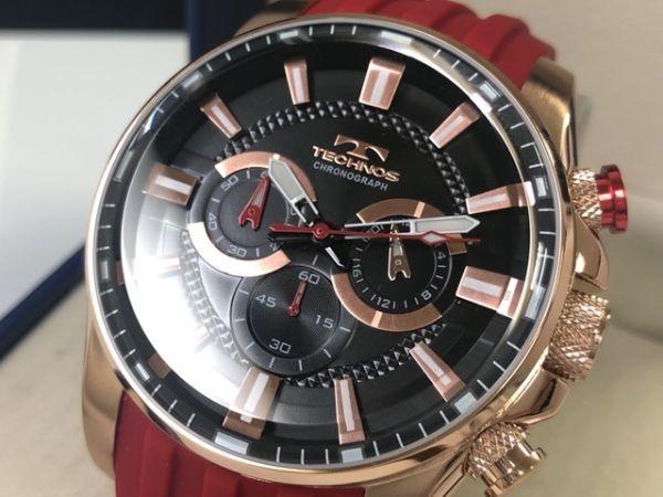 f2ee3b3ce2bf 1円 technoss テクノス メンズ クォーツ 人気ブランド 腕時計 クロノグラフ ラバー ベルト おすすめ レッドの