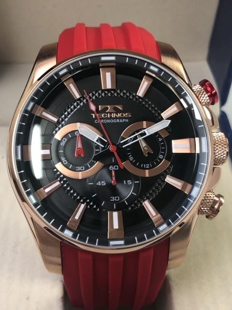 d8e4eed63744 ... 1円 technoss テクノス メンズ クォーツ 人気ブランド 腕時計 クロノグラフ ラバー ベルト おすすめ レッドの