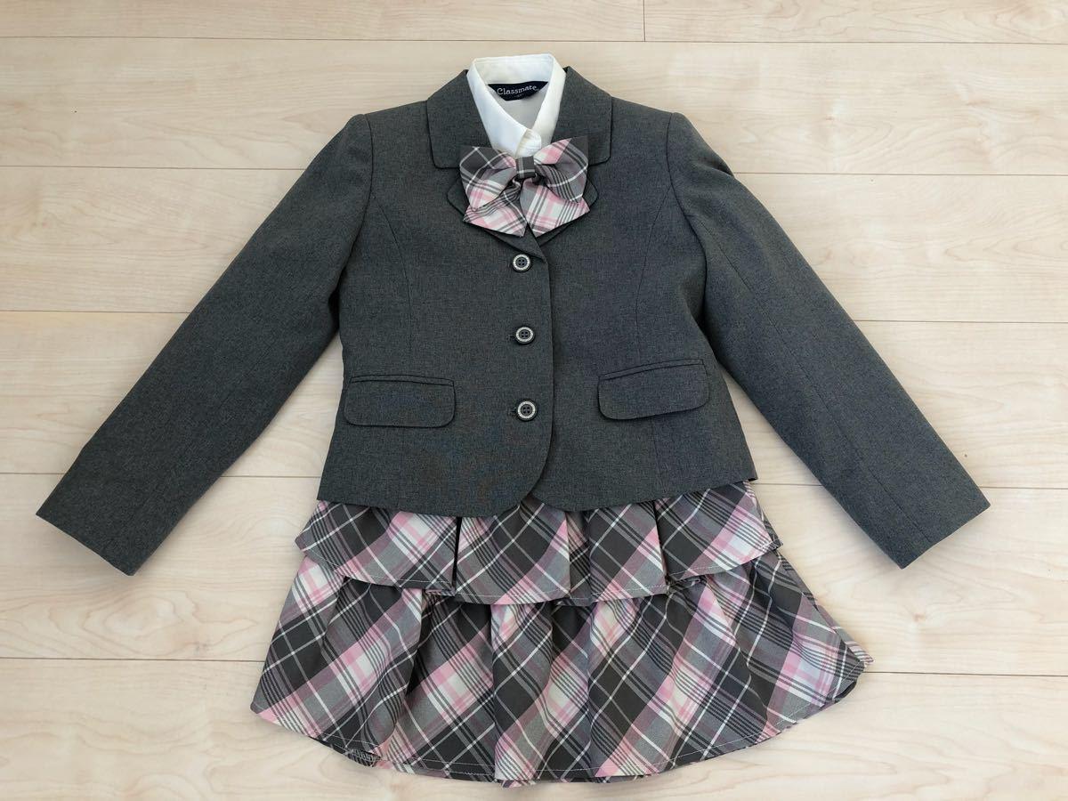 3bb5948486513 クラスメイト☆120 スーツ 女の子 グレー 卒園式 入学式 ピンク チェック フォーマル 4