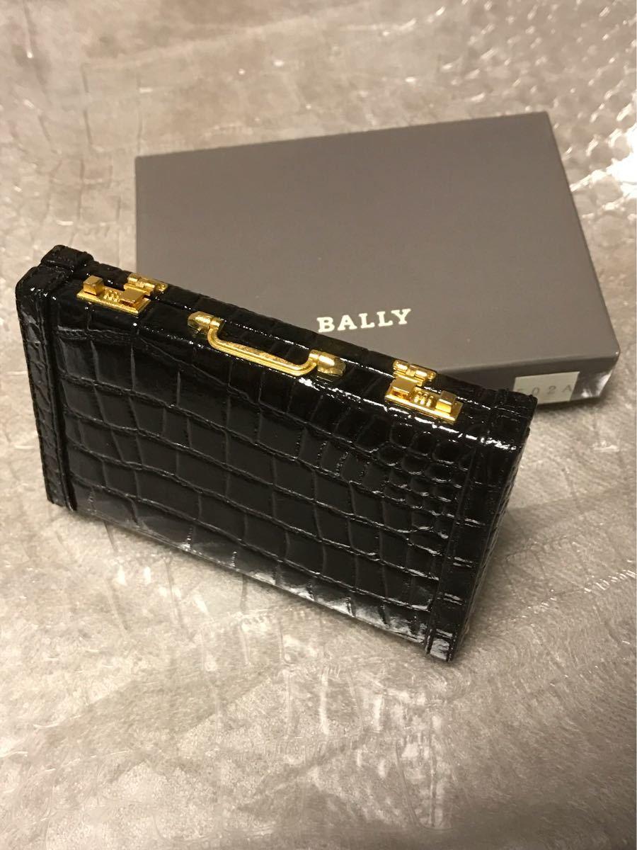 a2ea6c2fc19d バリーBALLYクロコ型押しアタッシュケース型カードケース名刺入れ黒クロコダイル柄ワニ革