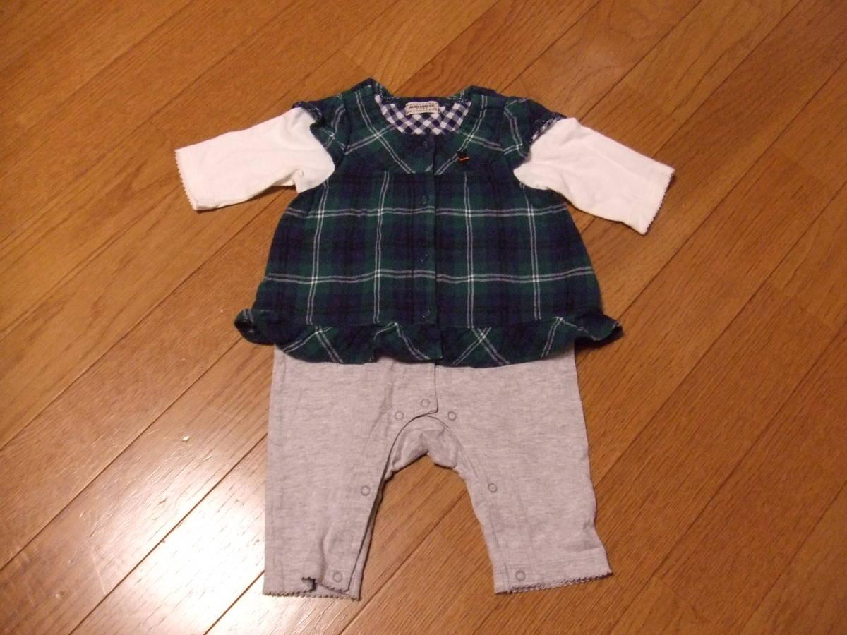 97356664faab7 MIKIHOUSE FIRST ミキハウスファースト ブラックベア刺繍 重ね着風長袖カバーオール 60~70cm 子供