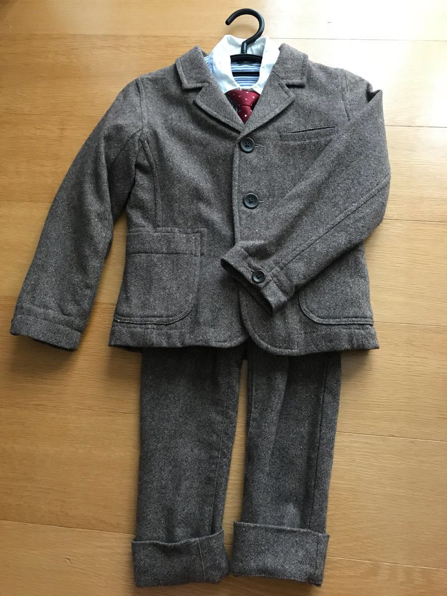 0952d1f8e94c0 男の子 120 コムサ スーツ シャツ ネクタイ セット 入学式 七五三 フォーマル 結婚式 茶色 ストライプの