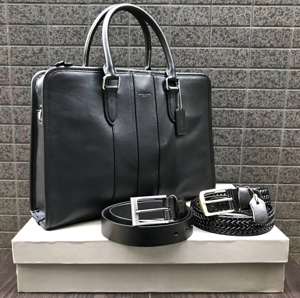 906fa96dbfd4 スタイリスト出品□COACH コーチ 上質レザービジネスバッグ黒 2WAY 高級皮仕様 +本