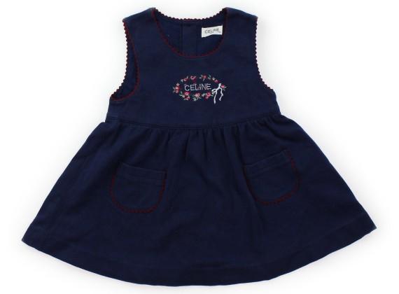 574eff557a800 セリーヌ CELINE ワンピース 95 女の子 ネイビー・刺繍花 子供服 ベビー服 キッズ(308492)