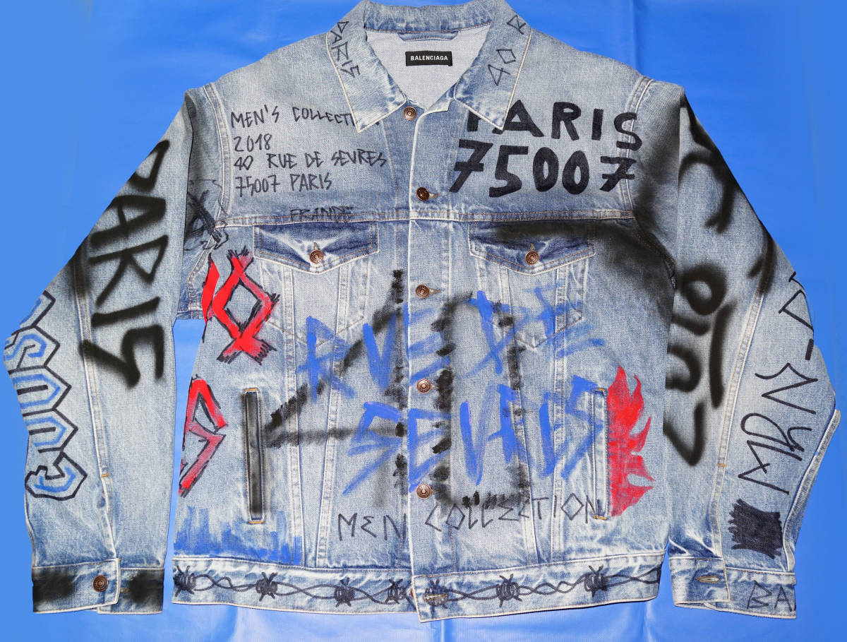 the latest cf2cf 39cd8 新品】18AW BALENCIAGA バレンシアガ DENIM GRAFFITI JACKET G ...