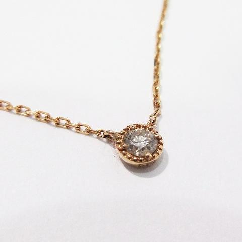 7a260cd796 アガット agete 美品 ネックレス ペンダント アクセサリー 0.07ct ダイヤモンド k18 金 金色 ゴールド系 レディース