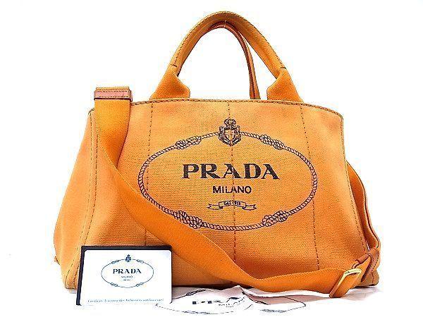 595d1635e4a0 1円 PRADA プラダ カナパ BN2642 ロゴ キャンバス 2WAY トートバッグ ショルダーバッグ オレンジ系 A9557EQ