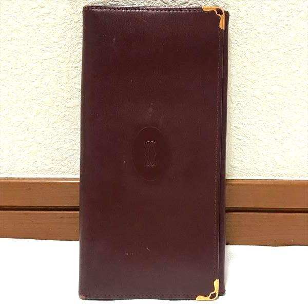 90994b3ffd9d カルティエ 二つ折り長財布 マスト ボルドー カーフレザー 革 ゴールド金具 カード ファスナー ヴィンテージ メンズ