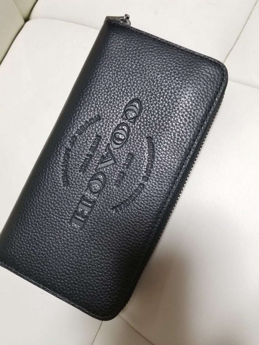 promo code f66b1 5c15e 未使用に近い『人気コーチ 長財布』 メンズ COACH ラウンド ...