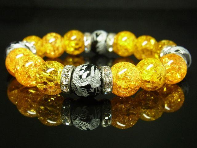 b2acafae64 1円スタート 豪華12ミリ数珠 銀彫皇帝龍ブラックオニキス シトリンクラックブレスレット