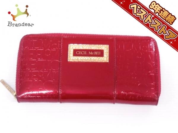 053629eabca4 セシルマクビー CECILMcBEE 財布 長財布 エナメル(合皮) レッド ラウンドファスナー 美品