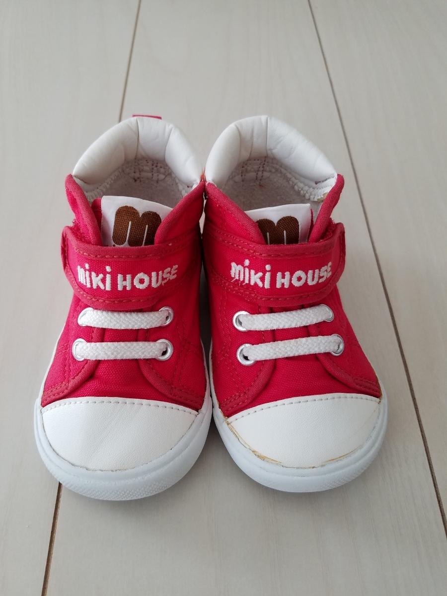 d66d614bd16b8 ... ミキハウス□定番ロゴキャンバスセカンドシューズ 赤 14cm/靴スニーカーベビーシューズキッズ