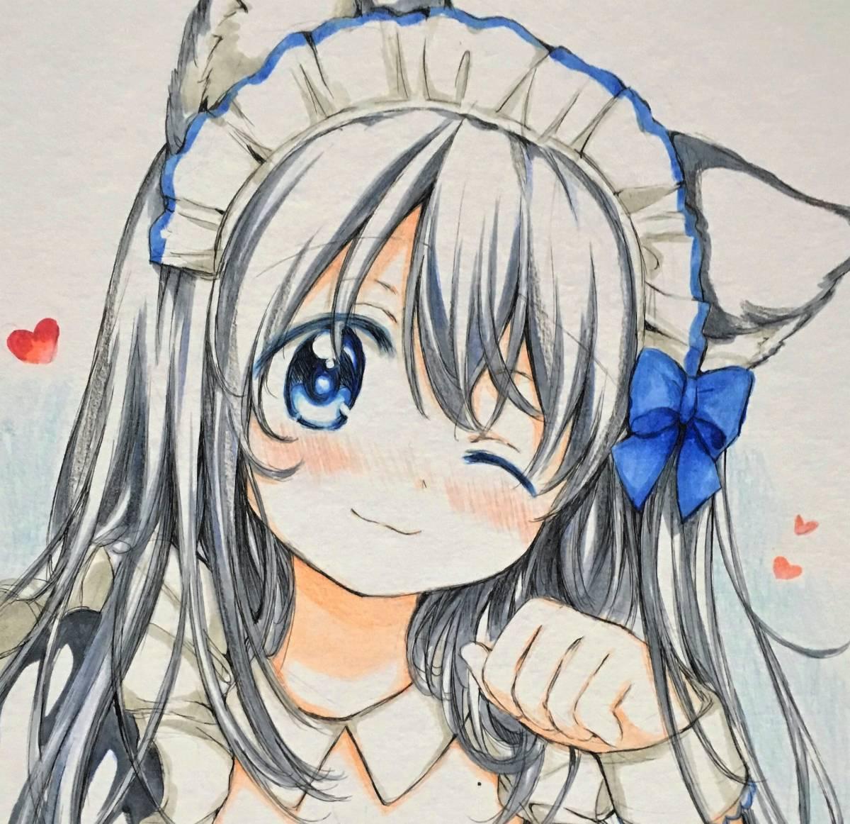 新品同人手描きイラスト色紙 オリジナルネコミミの女の子ちゃん の