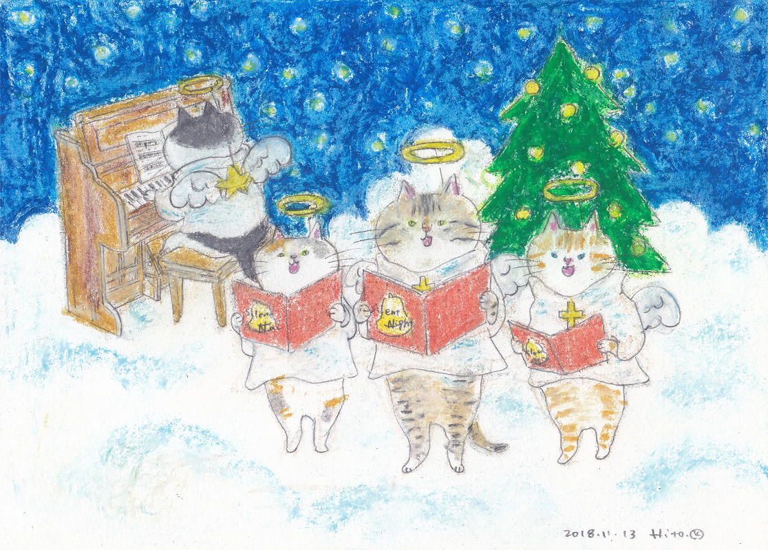 新品直筆手描き オリジナル猫イラスト猫の聖歌隊聖夜