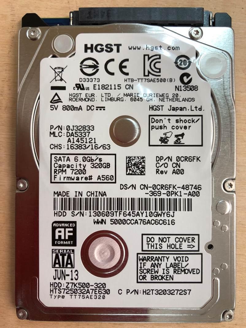 """HGST 320GB Hard Drive HDD 7200 RPM 2.5/"""" HTS725032A7E630"""