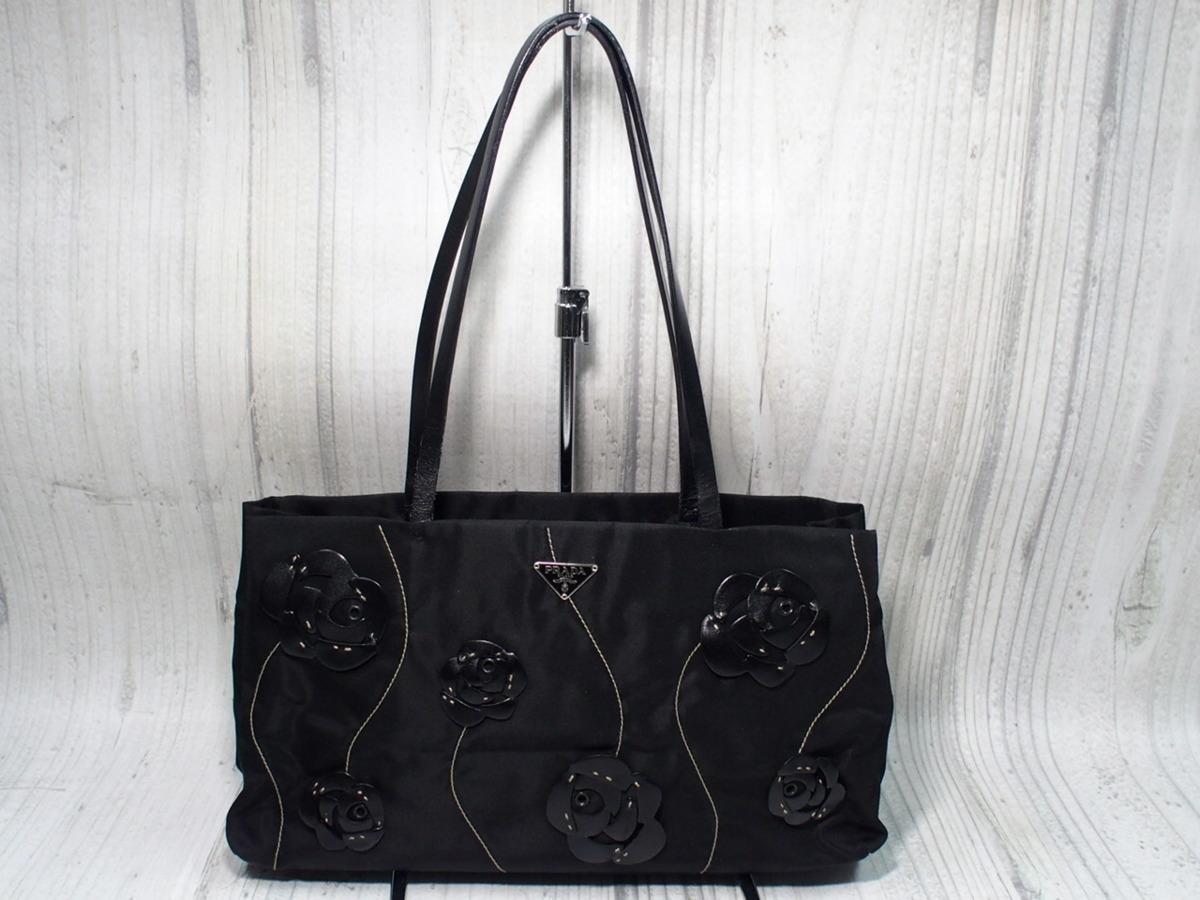 2267a3938f25 PRADA プラダ ハンド バッグ ショルダーバッグ B11033 TESSUTO FIORI ナイロン フラワー モチーフ バラ 黒 ブラック 鞄