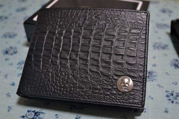 476b37e5d211 Roen ロエン BI-FOLD WALLET クロコ調 レザー 二つ折り 財布 黒 未使用 3R392144
