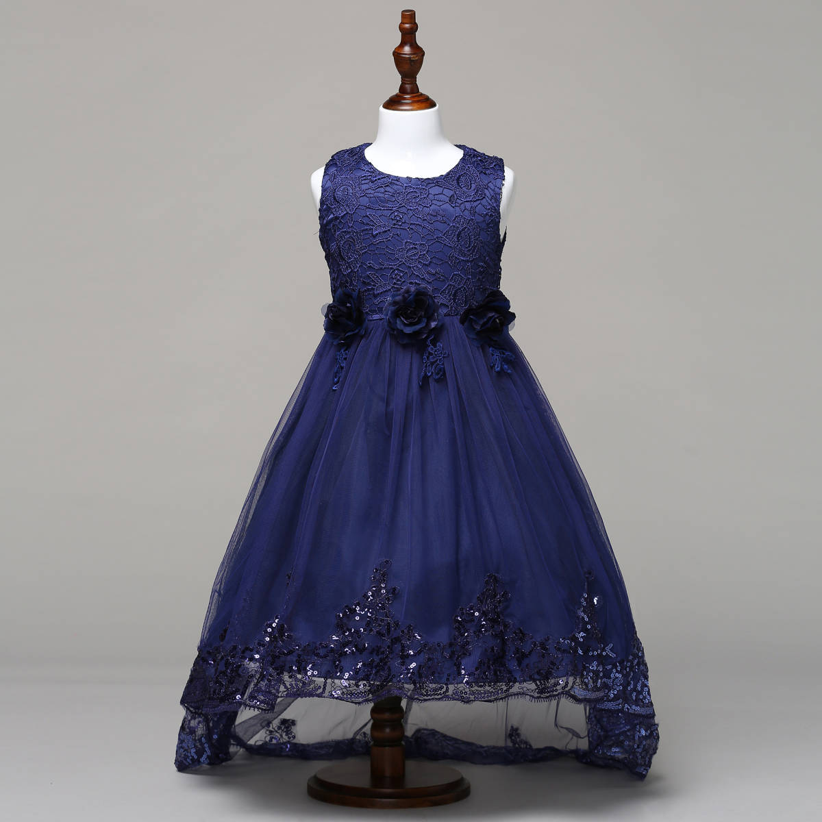 bb9115a762f46 子供ドレス ノースリーブロングドレス 花びらワンピース キッズ フォーマル 結婚式 発表会 女の子 レースの