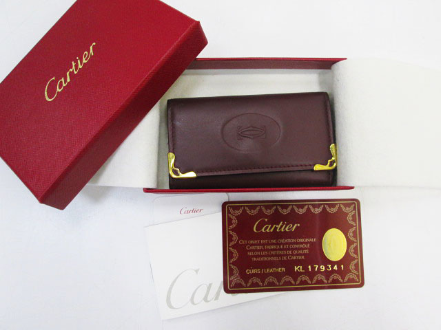 48f6f99f4d28 比較的良好☆カルティエ キーケース マストライン ボルドー 4連フック レザー Cartier