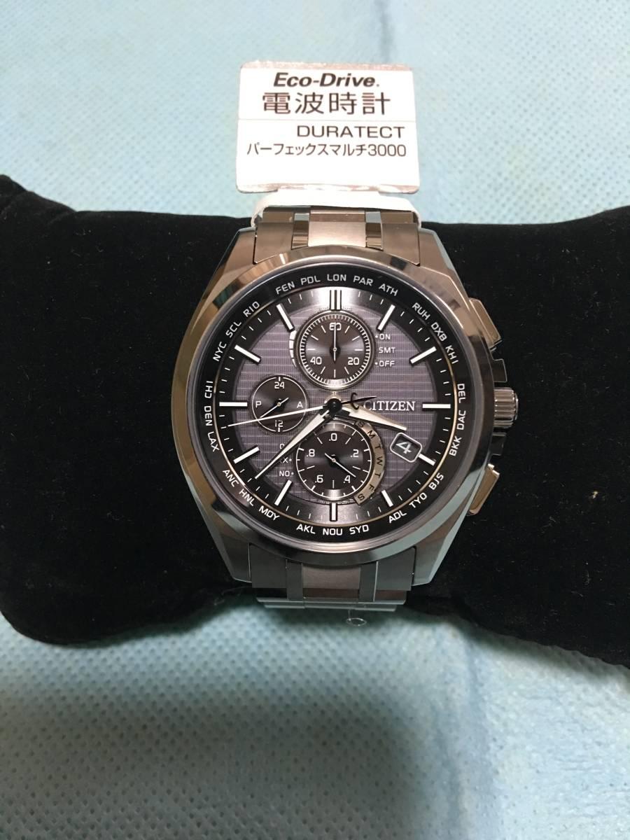 44b8e969ca シチズン CITIZEN 腕時計 ATTESA アテッサ エコ・ドライブ 電波時計 ダイレクトフライト クロノグラフ 薄型 AT8040