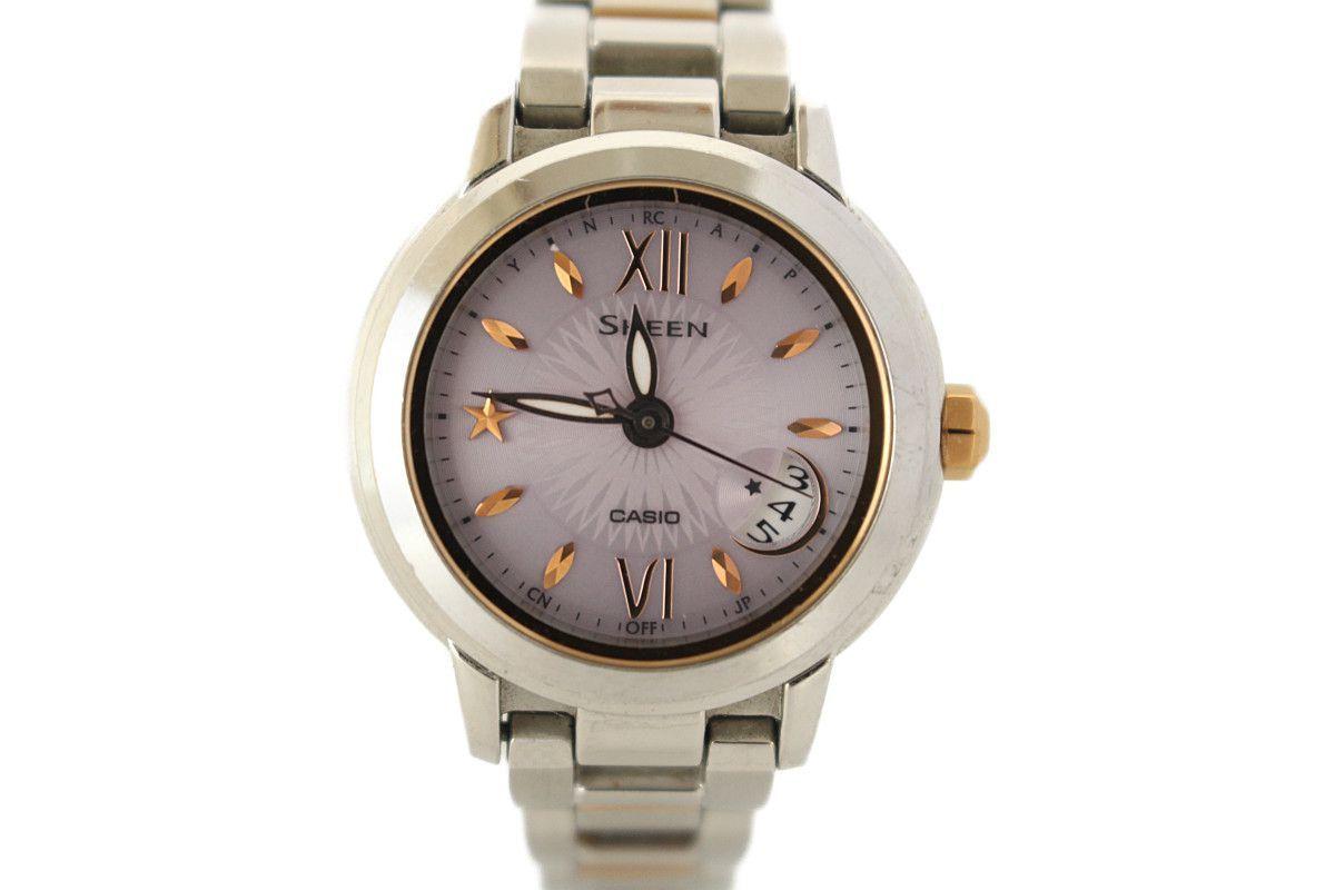 5555eda7eff2 1円~ CASIO SHEEN シーン ソーラー電波時計 SHW-1500 レディース腕時計 女性用