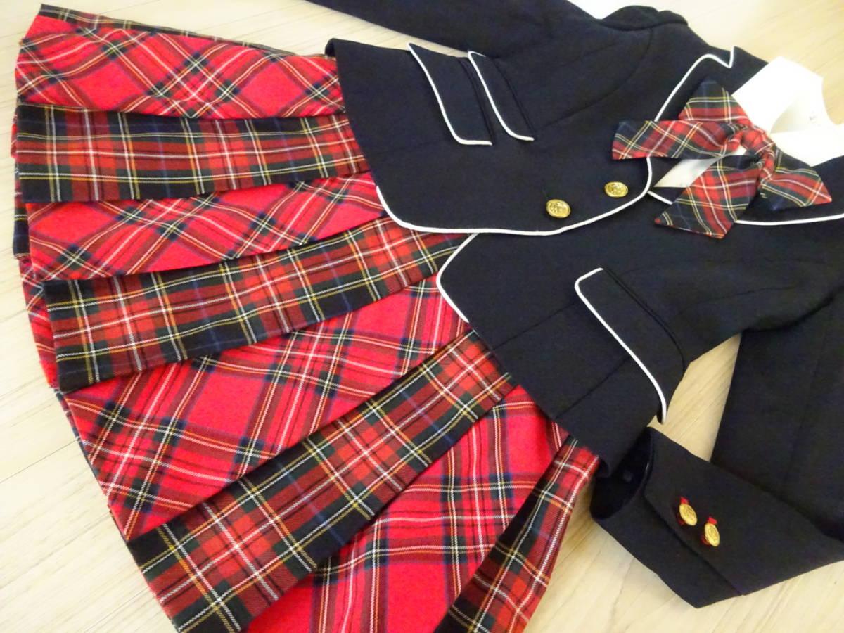 d2471ca71c9d1d 送料無料☆美品150【ELLE】チェックリボン&スカートスーツ4点セット ...