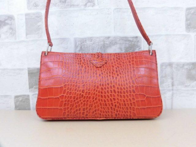 fe5453977941 ... 極美品□ロンシャン LONGCHAMP□ショルダー バッグ 型押しレザー オレンジ系 素敵鞄 ...