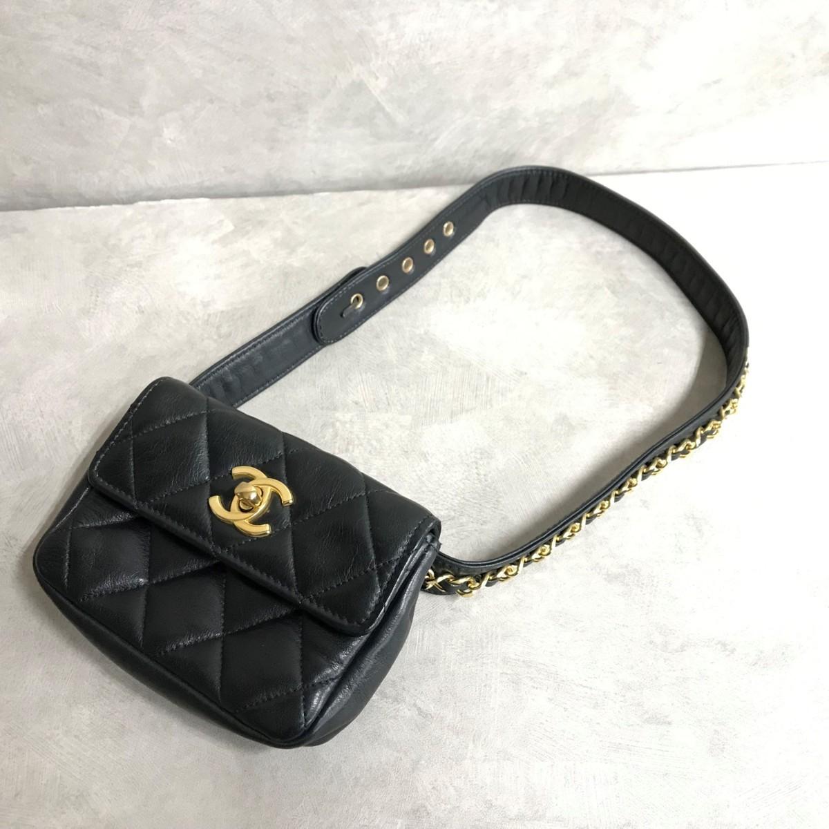 ea580375f76e 1円スタート 美品 シャネル CHANEL ラムスキン マトラッセ ウエストポーチ ウエストバッグ 黒の1