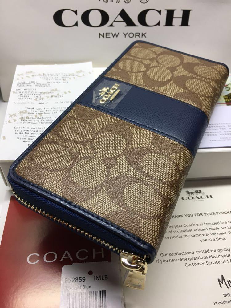 71f1ba7f3053 COACH 新品 箱ショッパー付き長財布 F52859 / BLUE レディース財布 アウトレット正規品の