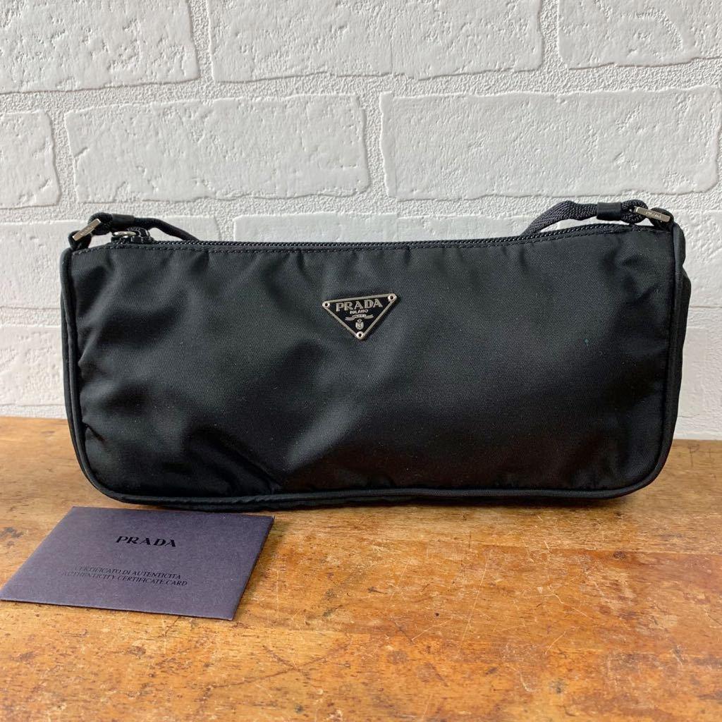 a55ee5225eb4 363▽ PRADA プラダ ハンドバッグ 黒 ブラック NECESSAIRE TESSUTO ナイロン イタリア製 レディース カバン 鞄 バッグ  ミニ