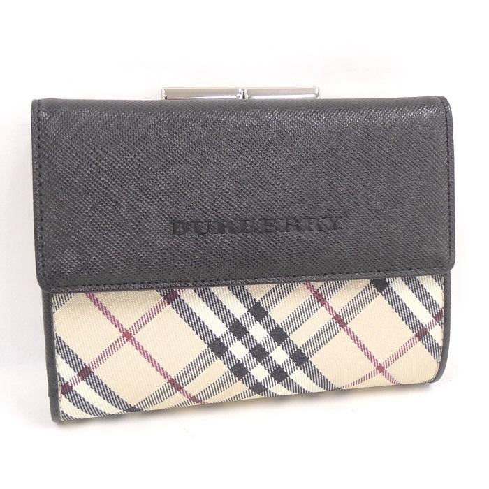 b01b19a821c7 【中古】バーバリー がま口付 三つ折り財布 チェック柄/ブラック キャンバス/レザー