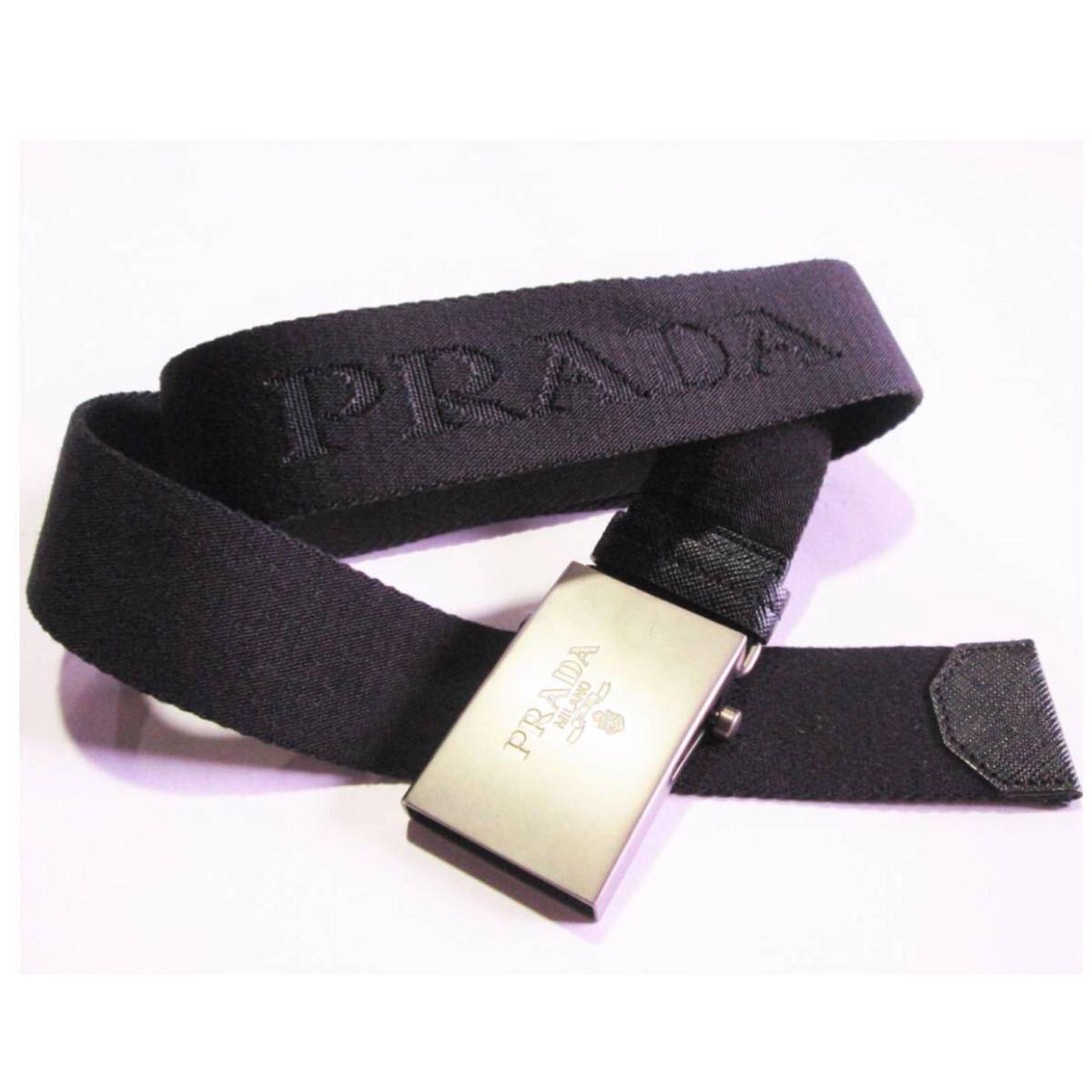 f2ff5468cc35 プラダ PRADA MILANO シンプル ロゴ ベルト ガチャベルト 黒 ブラック *同梱OK 0619
