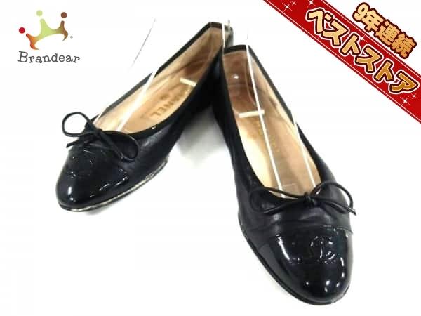 08bfa5a08783 シャネル CHANEL 靴 フラットシューズ 35 レザー×エナメル(レザー) 黒 レディース リボン/
